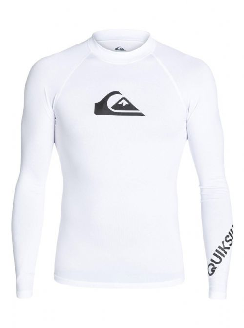 QUIKSILVER MENS RASH VEST.ALL TIME WHITE UPF50+ GUARD LONG SLEEVE TOP 8S 34 WBBO